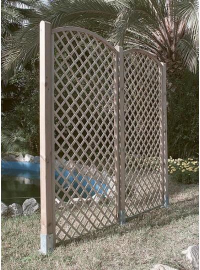 Celosia madera arco agotado space for Celosia de madera para jardin
